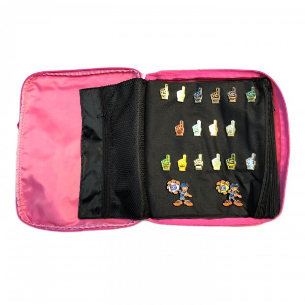 Pink Pin Bag Showing Page With Pins