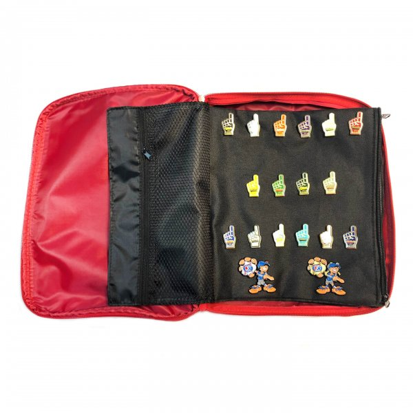 Red Pin Bag Showing Page With Pins
