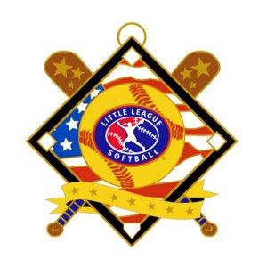 """Softball Red White Blue 2.5"""" Medal"""