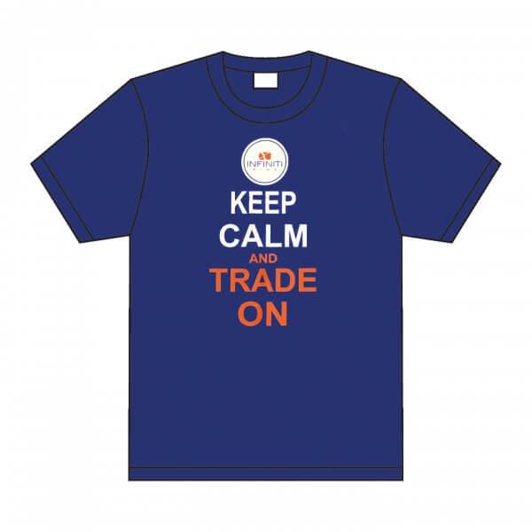 Infiniti pins blue t-shirt. Keep Calm and Trade on