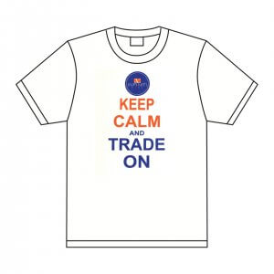 Infiniti pins white t-shirt. Keep Calm and Trade on