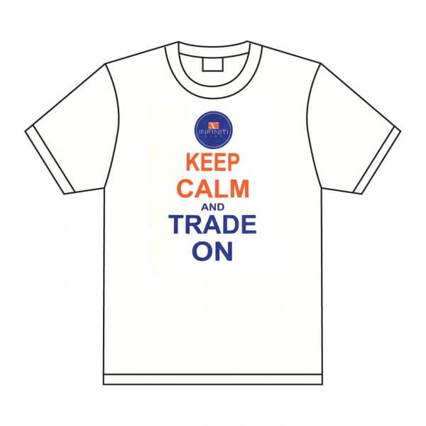 Infiniti pins white t-shirt. Keep Calm and Trade on
