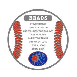 Little League Pledge Flip Coin Heads